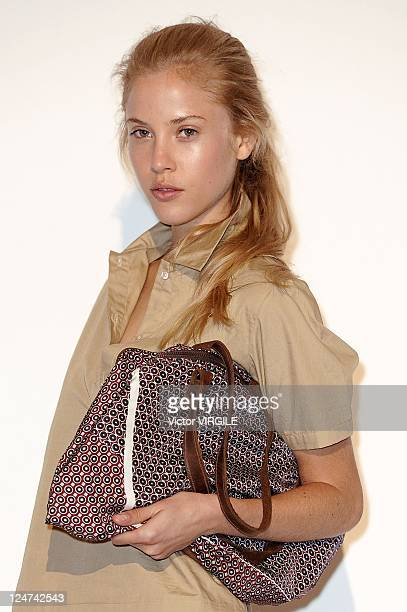 Model poses at the Organic by John Patrick Spring 2012 presentation during Mercedes Benz Fashion Week at The Jane Hotel on September 7, 2011 in New...
