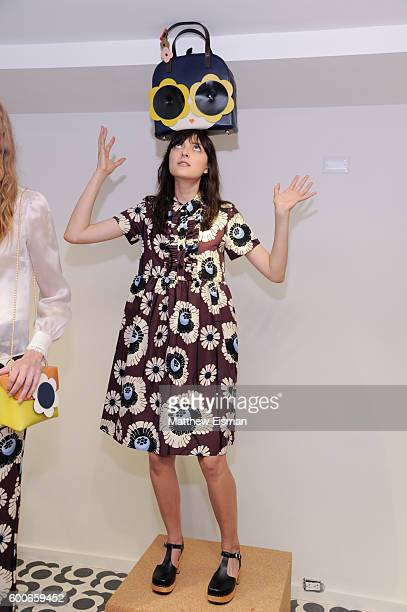 A model poses at the Orla Kiely presentation during New York Fashion Week September 2016 on September 8 2016 in New York City