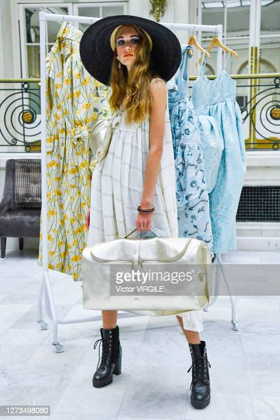 Model poses at the Paul Costelloe presentation Spring/Summer 2021 during London Fashion Week September 2020 at The Waldorf Hilton Hotel on September...