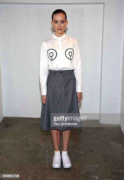 A model poses at the Presentation Fall 2016 New York Fashion Week at Openhouse Gallery on February 12 2016 in New York City