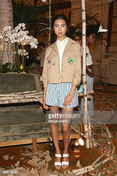 A model poses at the Rachel Antonoff presentation during Spring 2016 New York Fashion Week at The Palm Court at The Plaza Hotel on September 14 2015...