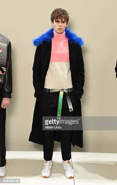 Model poses at the Ricardo Seco presentation during New York Fashion Week Men's Fall/Winter 2016 at Skylight at Clarkson Sq on February 3, 2016 in...