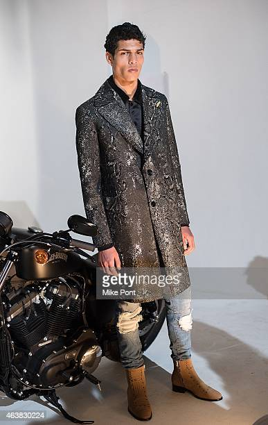 Model poses at the Rob Garcia Presentation during Mercedes-Benz Fashion Week Fall 2015 on February 18, 2015 in New York City.