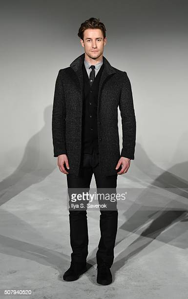 Model poses at the Robert James Presentation during New York Fashion Week Men's Fall/Winter 2016 at Industria Superstudio on February 1, 2016 in New...