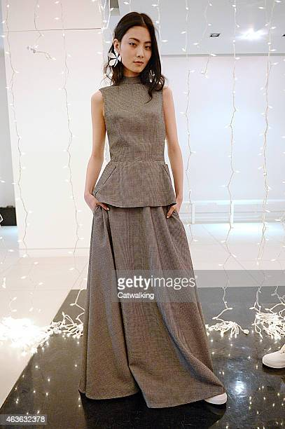 Model poses at the Rosie Assoulin Autumn Winter 2015 fashion show during New York Fashion Week on February 16, 2015 in New York, United States.
