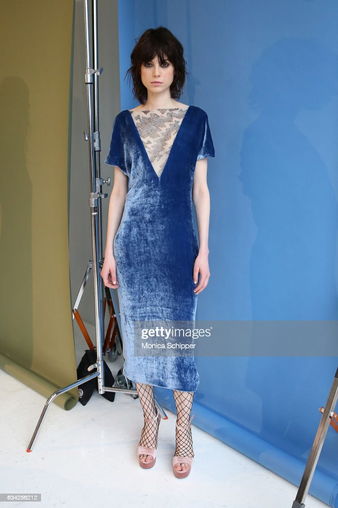 A model poses at the Roumel 6 Presentation during February 2017 New York Fashion Week at Drift Studios on February 8, 2017 in New York City.