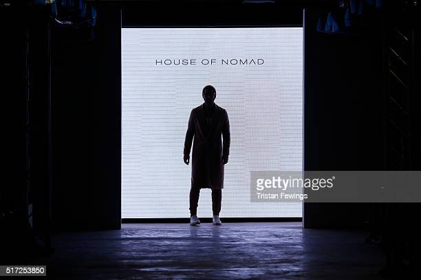 A model poses at the runway at the start of the House of Nomad show during Dubai collections March 2016 by Emaar at Burj Khalifa on March 24 2016 in...