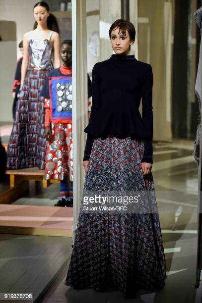 Model poses at the Sadie Williams Presentation during London Fashion Week February 2018 at BFC Show Space on February 17, 2018 in London, England.