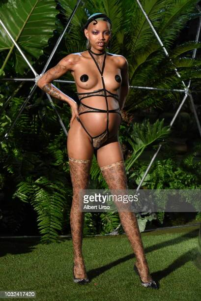 A model poses at the Savage x Fenty show during New York Fashion Week on September 12 2018 in Brooklyn City
