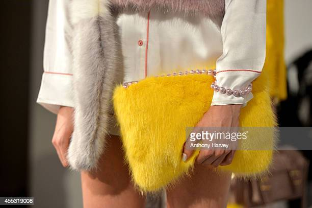 A model poses at the Shrimps presentation during London Fashion Week Spring Summer 2015 at Fashion Scout Venue on September 12 2014 in London England