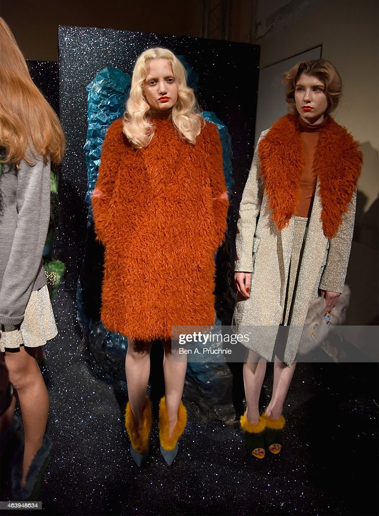 A model poses at the Shrimps presentation during London Fashion Week Fall/Winter 2015/16 at Somerset House on February 20, 2015 in London, England.