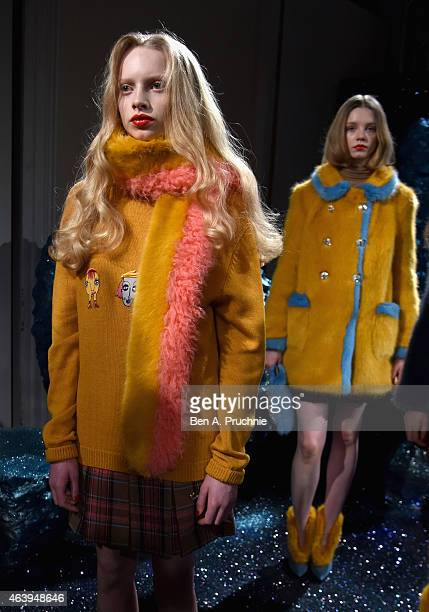A model poses at the Shrimps presentation during London Fashion Week Fall/Winter 2015/16 at Somerset House on February 20 2015 in London England