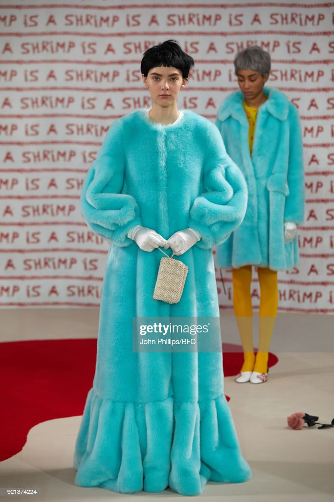 A model poses at the Shrimps Presentation during London Fashion Week February 2018 at TopShop Show Space on February 20, 2018 in London, England.