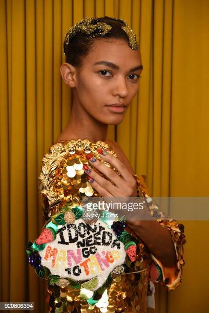 A model poses at the Sophia Webster AW18 presentation during London Fashion Week February 2018 at Hotel Cafe Royal on February 19 2018 in London...