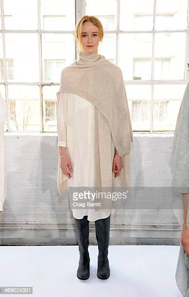 A model poses at the Steven Alan presentation during MercedesBenz Fashion Week Fall 2014 at Industria Studios on February 12 2014 in New York City