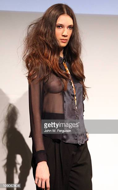 A model poses at the Suzanne Rae Fall 2011 presentation during MercedesBenz Fashion Week at Stanley H Kaplan Penthouse at Lincoln Center on February...