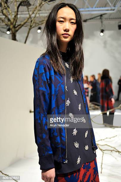 A model poses at the Tanya Taylor Presentation at Swiss Institute on February 12 2016 in New York City