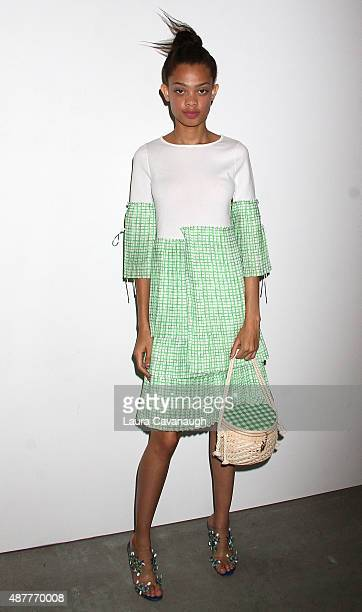 Model poses at the Tanya Taylor Presentation Spring 2016 New York Fashion Week at Swiss Institute on September 11 2015 in New York City