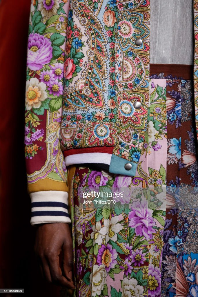 A model poses at the Tata Naka Presentation during London Fashion Week February 2018 on February 20, 2018 in London, England.