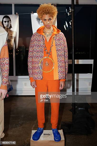A model poses at the Thaddeus O'Neil Fall 2015 Collection during MercedesBenz Fashion Week at Milk Studios on February 15 2015 in New York City
