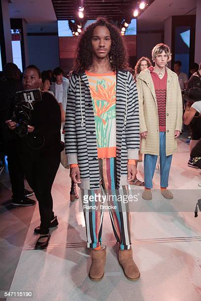 Model poses at the Thaddeus O'Neil Presentation during New York Fashion Week: Men's S/S 2017 at Cadillac House on July 13, 2016 in New York City.