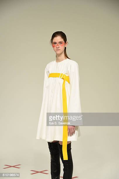 A model poses at the This Is The Uniform Presentation during Fall 2016 MADE Fashion Week at Milk Studios on February 13 2016 in New York City