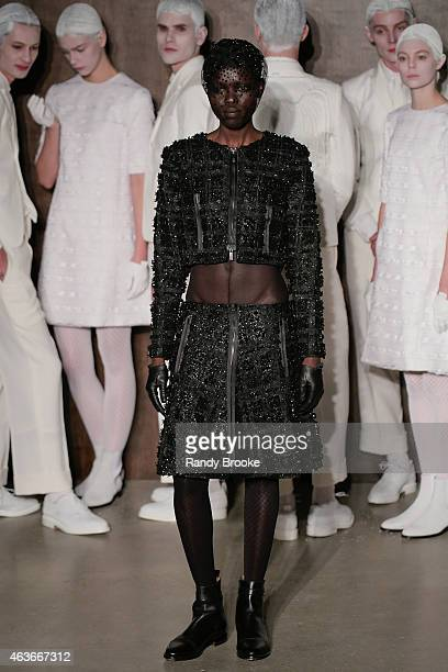b29fbee29762f A model poses at the Thom Browne Women's Fashion Show during MercedesBenz  Fashion Week Fall 2015