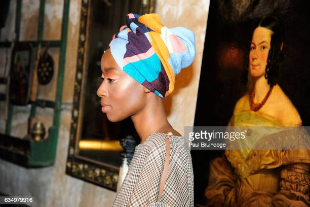 A model poses at the Tracy Reese Presentation during New York Fashion Week at 632 Hudson on February 12 2016 in New York City