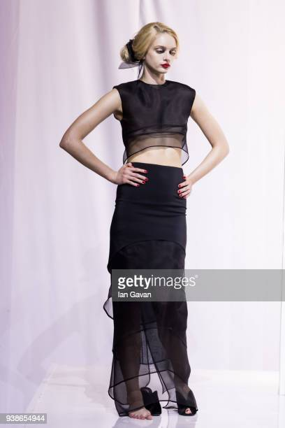 A model poses at the Urun show during MercedesBenz Istanbul Fashion Week at the Zorlu Performance Hall on March 27 2018 in Istanbul Turkey