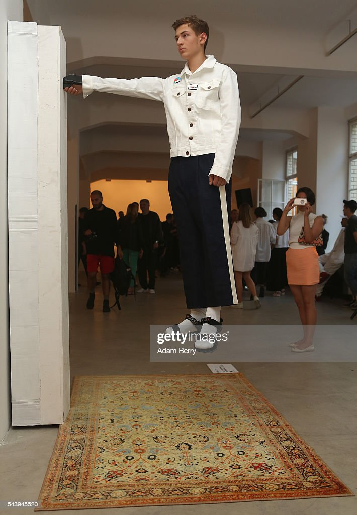 A model poses at the Wendy & Jim show installation during Mercedes-Benz Fashion Week Berlin Spring/Summer 2017 at Galerie Crone on June 30, 2016 in Berlin, Germany.