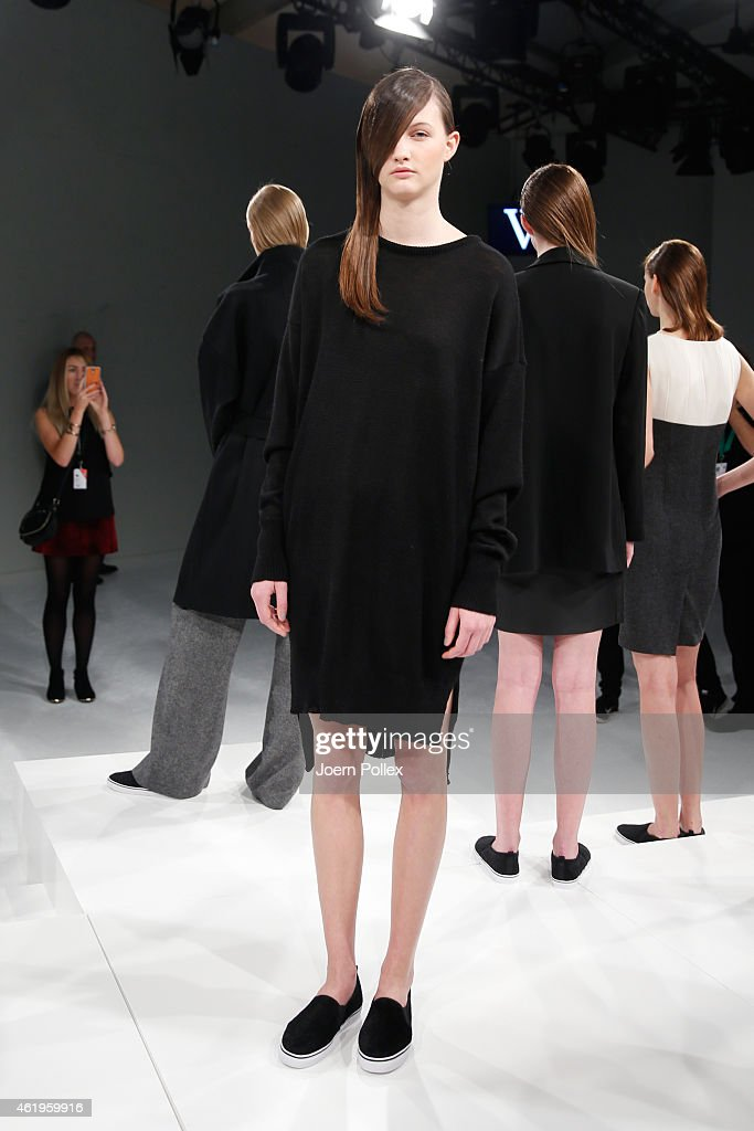A model poses at the Whitetail show during the Mercedes-Benz Fashion Week Berlin Autumn/Winter 2015/16 at Brandenburg Gate on January 22, 2015 in Berlin, Germany.