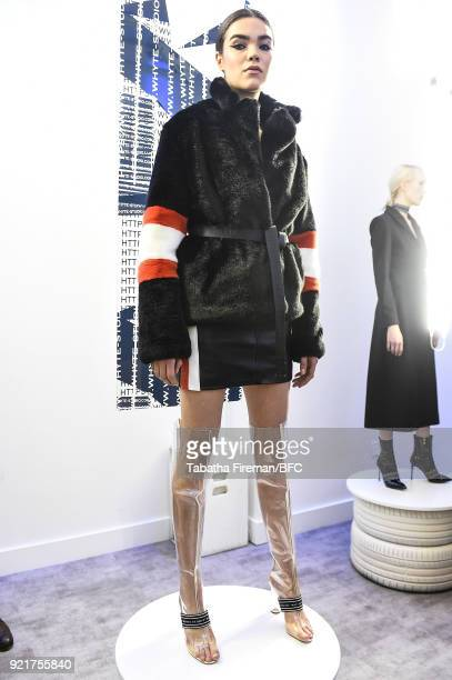 A model poses at the Whyte Studio Freestyle Event during London Fashion Week February 2018 at The White Space on February 20 2018 in London England