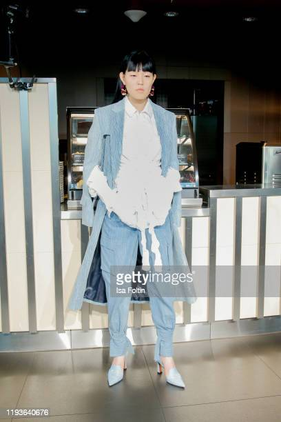 Model poses at the William Fan Fall/Winter 2020 Défilé during Berlin Fashion Week Autumn/Winter 2020 at Berliner Fernsehturm on January 14, 2020 in...
