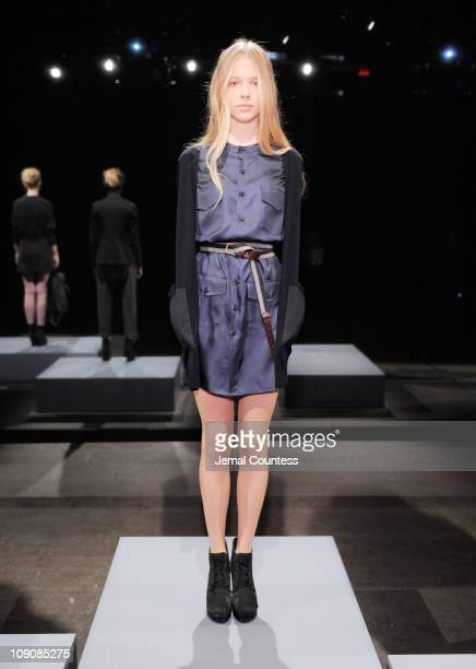 A model poses at the Woolrich John Rich Bros Fall 2011 presentation during MercedesBenz Fashion Week at Eyebeam on February 14 2011 in New York City