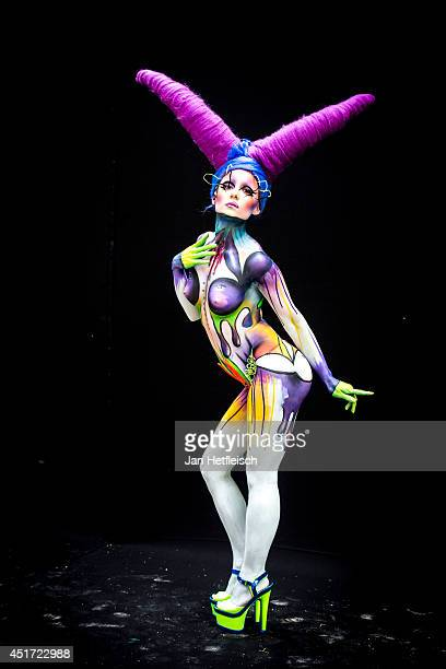 A model poses at the World Bodypainting Festival 2014 on July 4 2014 in Poertschach am Woerthersee Austria