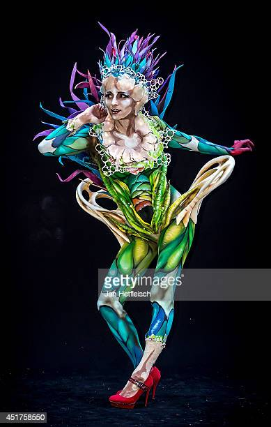 A model poses at the World Bodypainting Festival 2014 on July 5 2014 in Poertschach am Woerthersee Austria