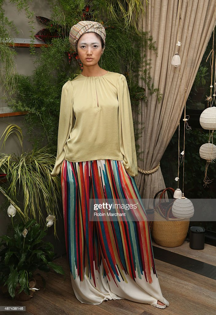 A model poses at Tia Cibani Presentation during Spring 2016 New York Fashion Week at Private Residence on September 9, 2015 in New York City.