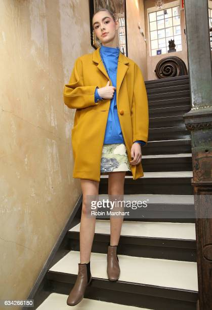 A model poses at Whit Presentation during New York Fashion Week on February 8 2017 in New York City