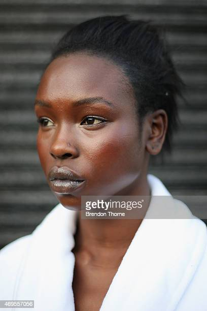 A model poses backstage ahead of the AJE show at MercedesBenz Fashion Week Australia 2015 at Carriageworks on April 13 2015 in Sydney Australia