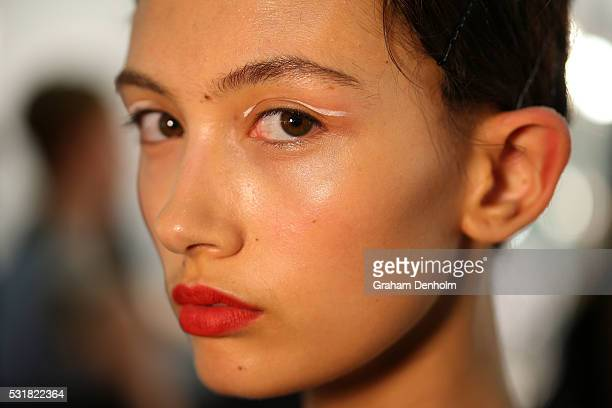 A model poses backstage ahead of the Akira show at MercedesBenz Fashion Week Resort 17 Collections at Carriageworks on May 17 2016 in Sydney Australia