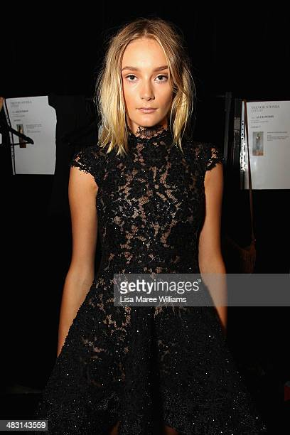 A model poses backstage ahead of the Alex Perry show at MercedesBenz Fashion Week Australia 2014 at Carriageworks on April 7 2014 in Sydney Australia
