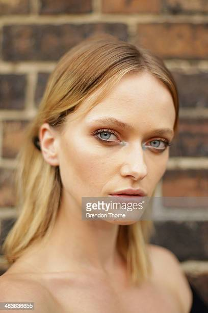 A model poses backstage ahead of the Alice McCall show at MercedesBenz Fashion Week Australia 2014 at Bay 25 Carriageworks on April 10 2014 in Sydney...