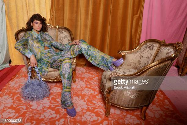 Model poses backstage ahead of the Alice McCall show during Afterpay Australian Fashion Week 2021 Resort '22 Collections at Carriageworks on May 31,...
