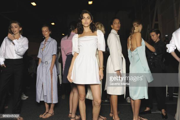 A model poses backstage ahead of the Anna Quan how at MercedesBenz Fashion Week Resort 19 Collections at Carriageworks on May 14 2018 in Sydney...