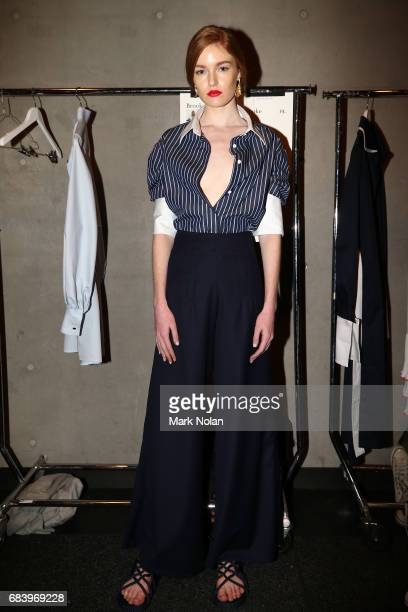 A model poses backstage ahead of the ANNA QUAN show at MercedesBenz Fashion Week Resort 18 Collections at Carriageworks on May 17 2017 in Sydney...