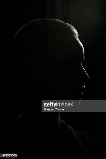 A model poses backstage ahead of the Ashkar Line show at MercedesBenz Fashion Week Australia 2015 at Carriageworks on April 13 2015 in Sydney...