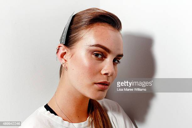 A model poses backstage ahead of the Australian Luxe show during MercedesBenz Fashion Festival Sydney 2015 at Sydney Town Hall on September 25 2015...