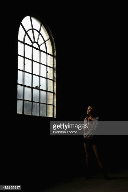 A model poses backstage ahead of the Bec and Bridge show at MercedesBenz Fashion Week Australia 2014 at Blacksmith's Workshop Carriageworks on April...