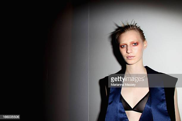 A model poses backstage ahead of the Bec and Bridge show during MercedesBenz Fashion Week Australia Spring/Summer 2013/14 at Carriageworks on April 8...