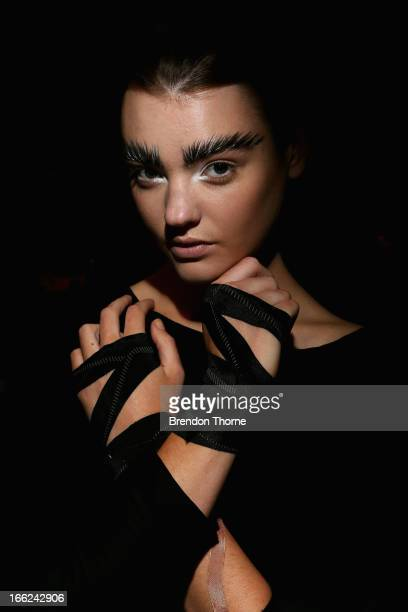 A model poses backstage ahead of the Bless'ed Are The Meek show during MercedesBenz Fashion Week Australia Spring/Summer 2013/14 at Carriageworks on...